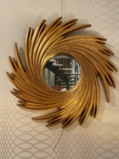 Round Mirror with Chain Decoration