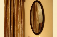 Antique Oval Wall Mirror with Wooden Frame