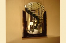 Art Deco Mirror with Wooden Frame