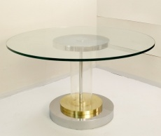 Mid-Century Glass and Plexi Dining Table