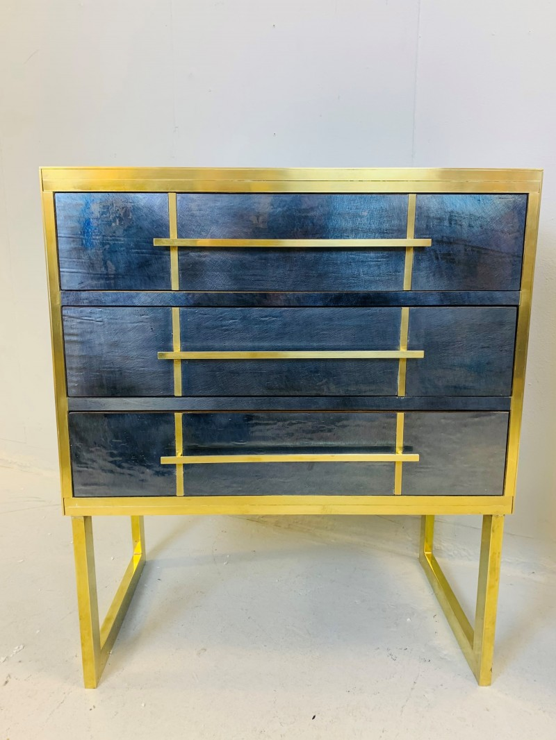 Pair of Mid-Century Italian Pearl Glass and Brass Chest of Drawers