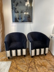Small Black Velvet Pair of Armchairs